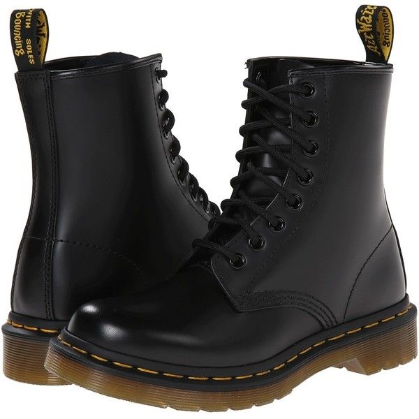 Dr. Martens 1460 W Women's Boots ($125) ❤ liked on Polyvore featuring shoes, boots, black, ankle boots, print boots, yellow ankle boots, dr. martens and short boots