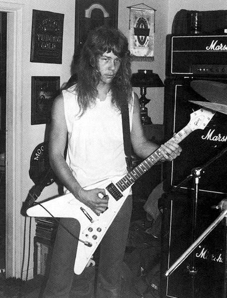 "A very young James Hetfield  ...looks like an ""in the home studio"" photo."