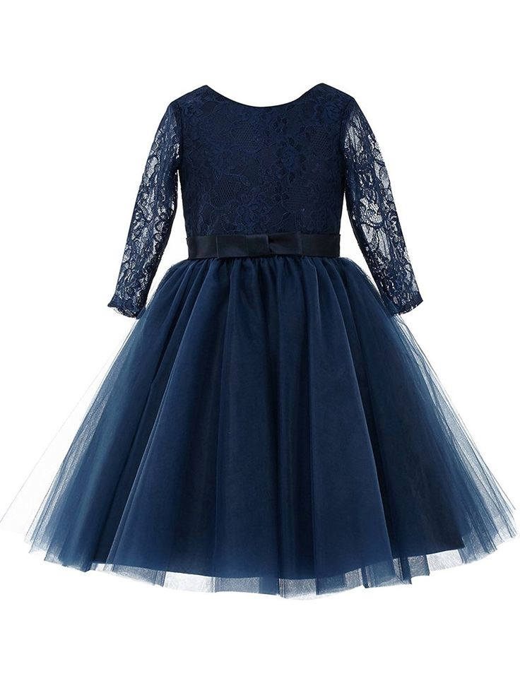 Latest A-line Scoop Neck Lace Tulle Tea-length Sashes / Ribbons Long Sleeve Flower Girl Dresses