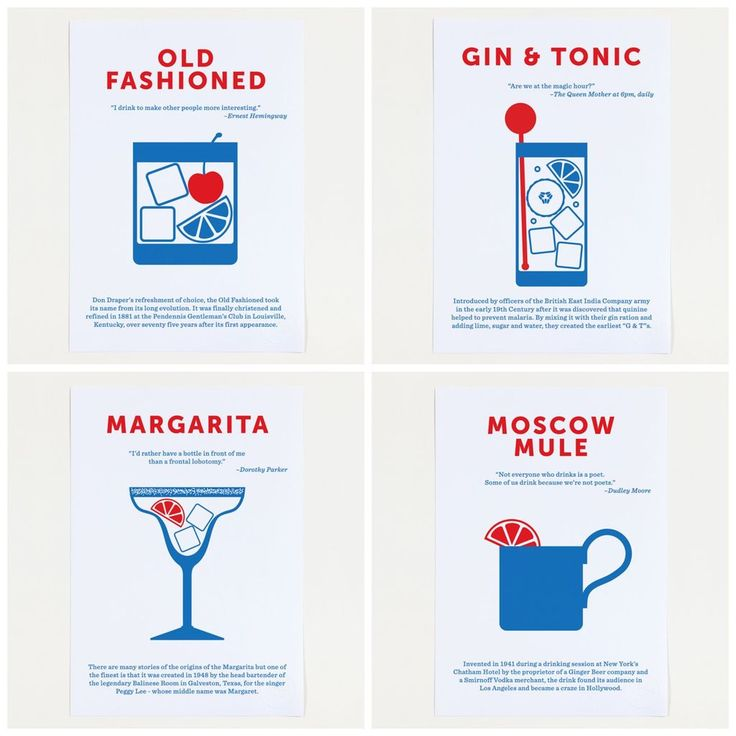 We love these Classic Cocktails posters with funny, famous quotes by Crispin Finn | Cool Mom Eats