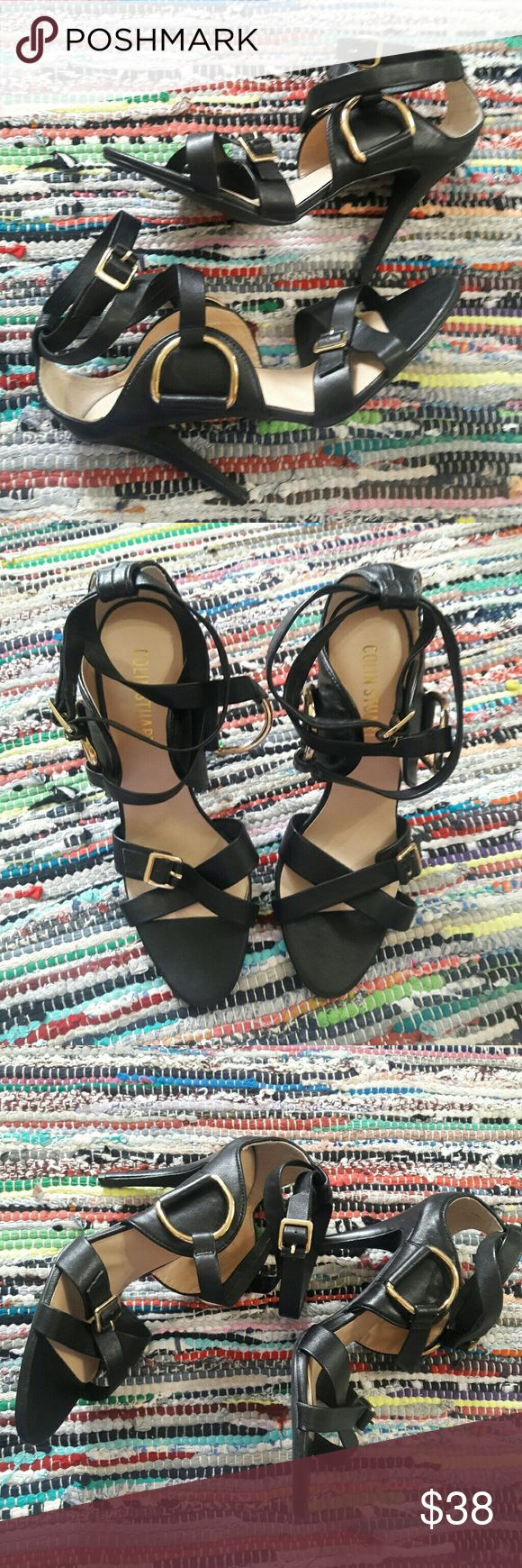 Colin Stuart Strappy black leather heels GUC ankle straps soft leather very comfortable black with gold hardware 8.5 Colin Stuart Shoes