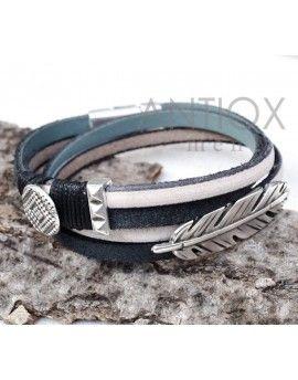 Ανδρικό Βραχιόλι Black & White Leather Feather