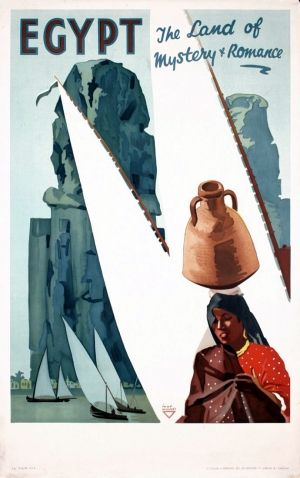 Egypt The Land Of Mystery And Romance Felucca, 1937 - original vintage poster by Ihap Hulusi listed on AntikBar.co.uk