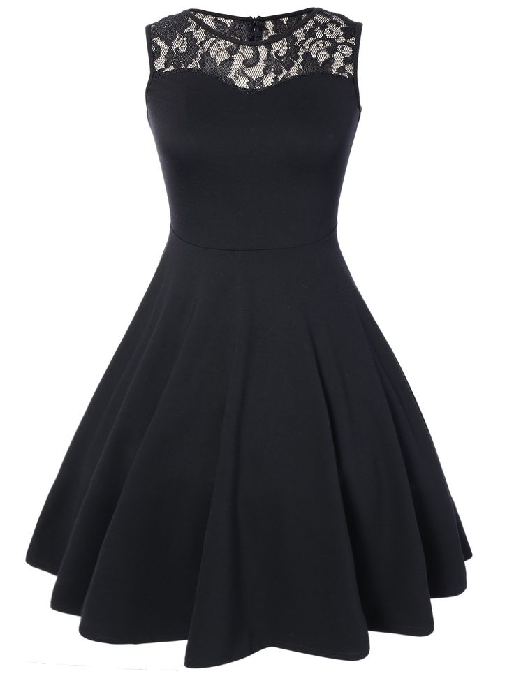 Black Dresses | Black Lace Pleated Sleeveless A Line Dress - Gamiss