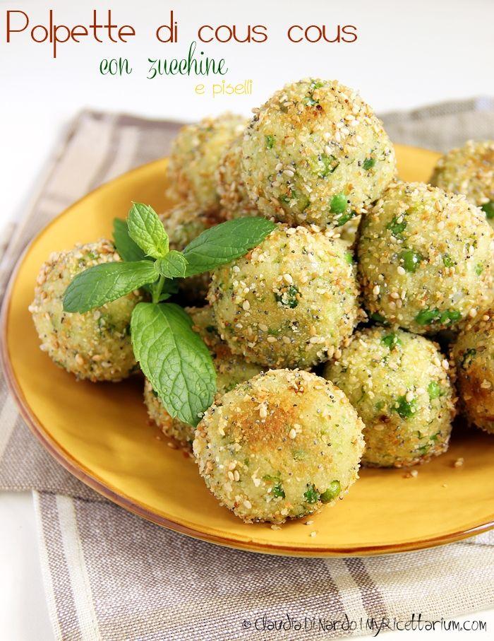 Polpette di cous cous con zucchine e piselli