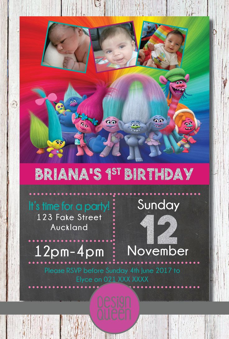 Trolls Kids Invitation - YOU PRINT custom Trolls party invite by QueenOfAdmin on Etsy
