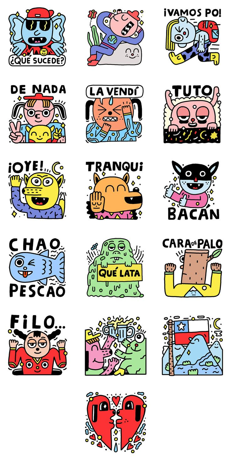 "Facebook asked me to create a set of 16 emoticon stickers for their Messenger App, inspired by Chilean culture and its slang.The set is called ""Take it easy"" and can be downloaded for free on the Facebook's Sticker Store"
