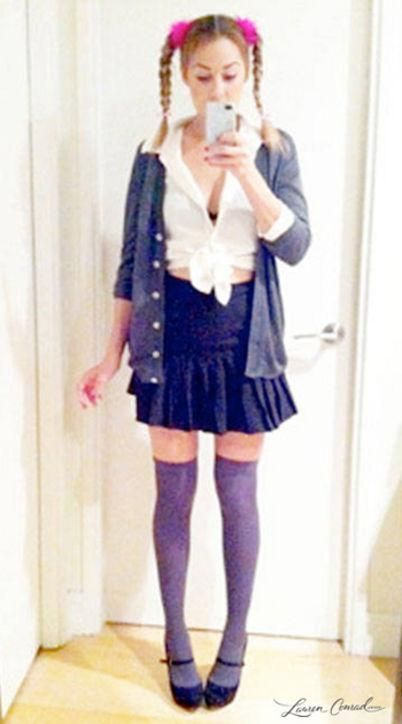 Lauren Conrad has some AMAZING Halloween costume ideas, including a Britney Spears 'Hit Me Baby One More Time' look (and this would be super easy to pull together last minute). Mix a cardigan, mini skirt, thigh-high socks, and a knotted white button-down