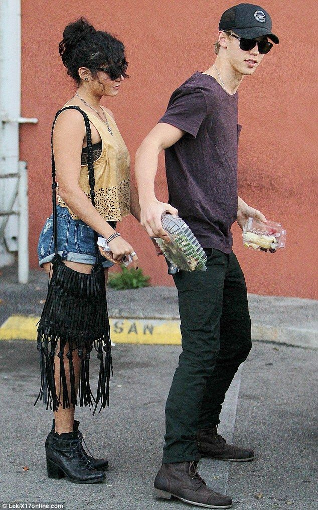 Healthy lunch: The couple, Vanessa and Austin, picked up take-away salad and fruit as they stepped out in Studio City, California, yesterday afternoon