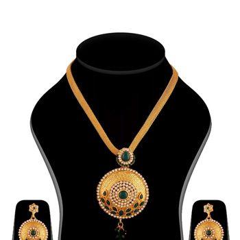 Golden Color and Green Austrian Diamond Necklace Set