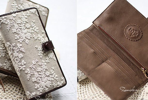 Handmade vintage rustic sweet lace leather long bifold wallet for wome   EverHandmade