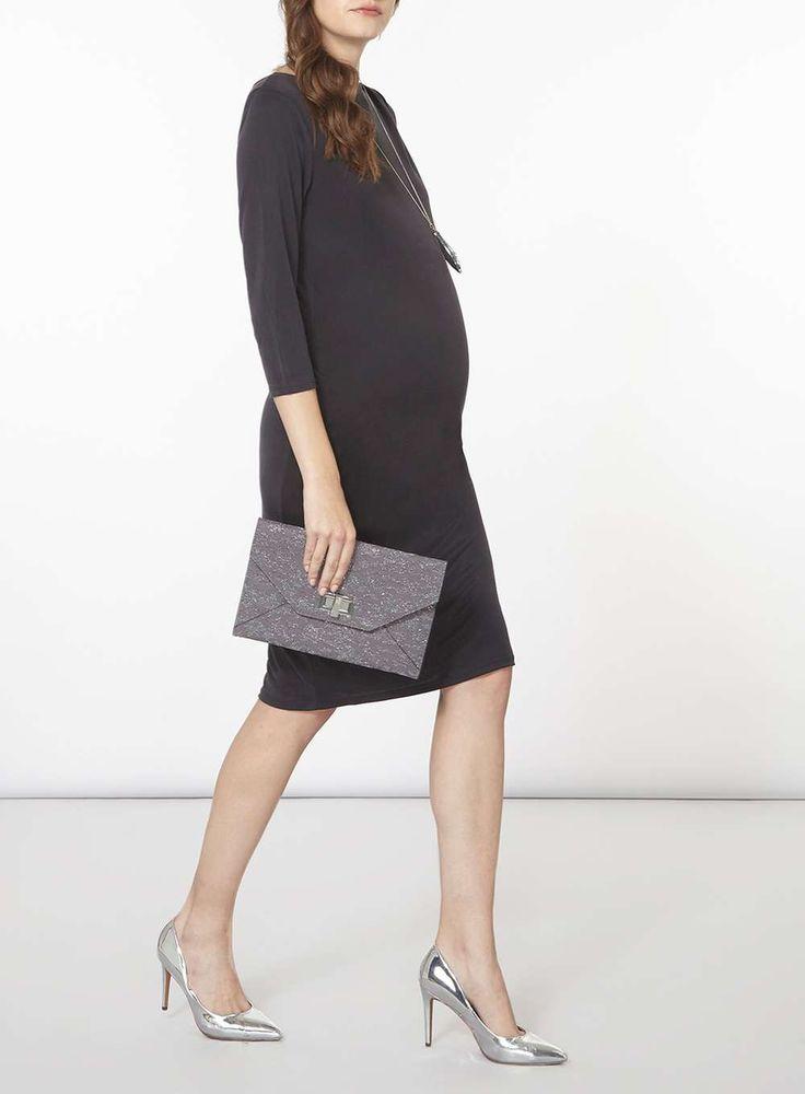 Womens **Maternity Grey Bodycon Dress- Grey