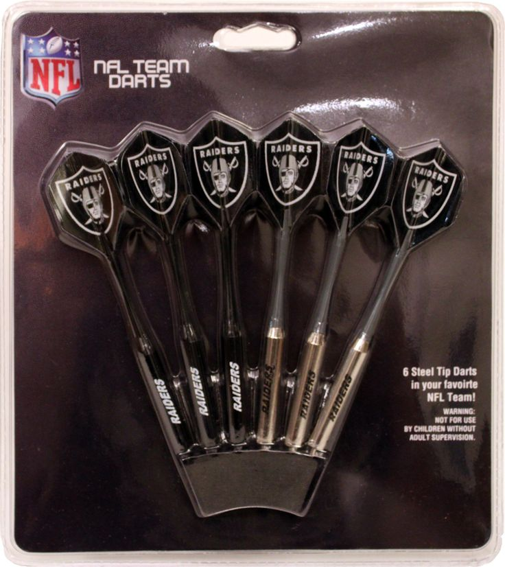 Set of 6 NFL Oakland RAIDERS Steel Tip Darts & Flights with Team Logo - Steel Tip