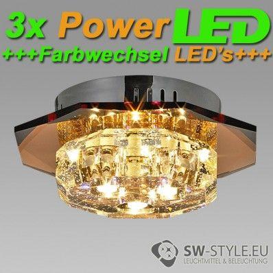 012-3C Deckenleuchte Wandleuchte inklusive POWER LED und LED Farbwechsel