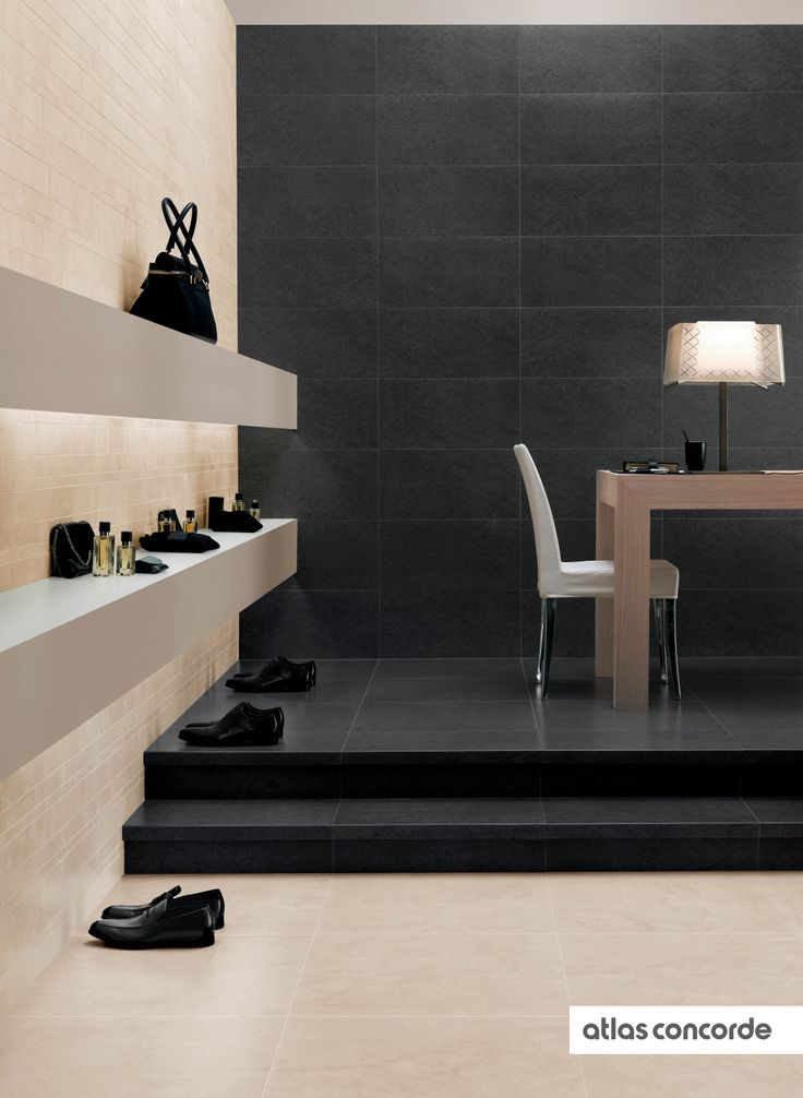 #ADVANCE Nero Basalto  Bianco Brera | #AtlasConcorde | #Tiles | #Ceramic | #PorcelainTiles