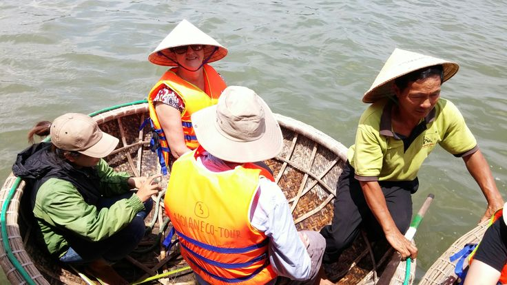 Ready for the trip across the river by basket boat. #VietnamSchoolTours #EcoTour