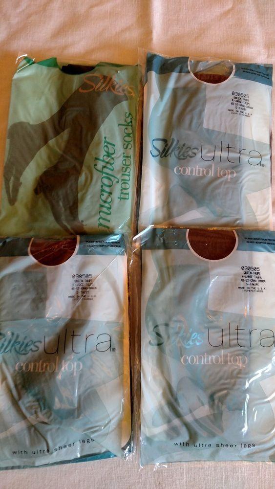Silkies Ultra Control Top Pantyhose New in Package Set of 4 & 1 Trouser Socks  #Silkies #Pantyhose