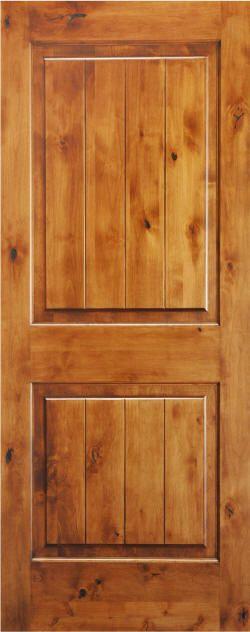 36x80 knotty alder door | Knotty Alder 2-Panel Door with V-Grooves and Natural Finish