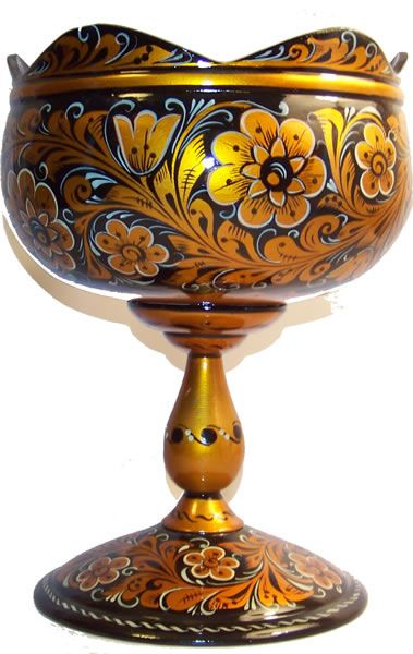 Wooden vase decorated with folk Khokhloma painting from Russia. #Russian #folk #art #painting