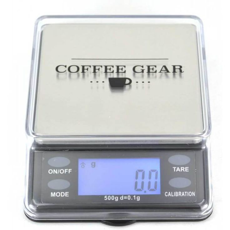 Coffee dosing scale designed for smaller weighing needs (up to 500g). Intended for bench-top use.