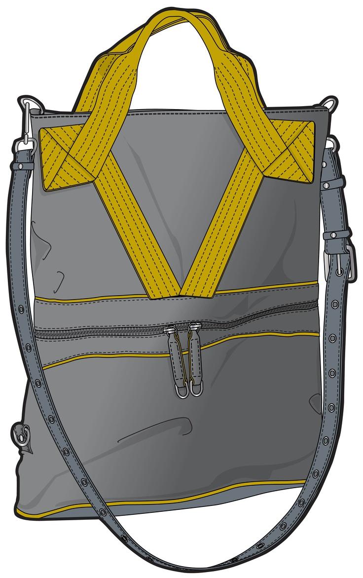 grey bag with short, yellow handles
