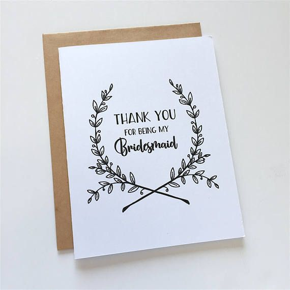 Bridesmaid Thank You - Bridesmaid Thanks - Bridesmaid Gift - Bridal Party - Thank You for Being my Bridesmaid - Black and White - Floral