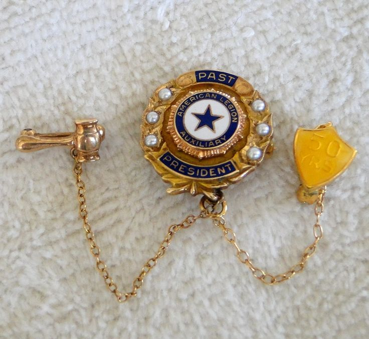 10K American Legion Auxiliary Past President Pin with 50yr Shield and Gavel side pins-Vintage 1920s-Seed Pearl Trim-5.2 grams-Not Scrap by TheCalamityHouse on Etsy