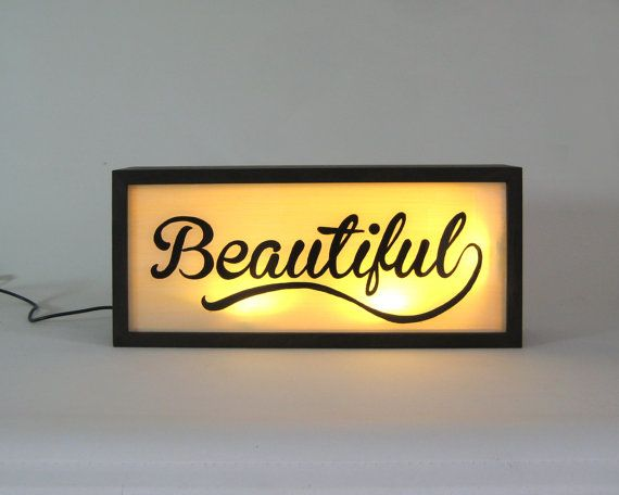 "Hand Painted Signs ""Beautiful"" Vintage Wooden Light Box / Illuminated Sign / Industrial Rustic / Reclaimed Plastic / Home Cafe Decor"