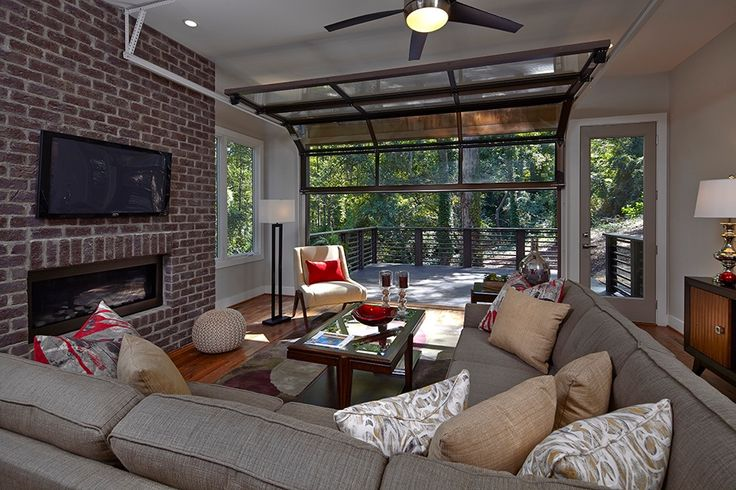 Contemporary Living Room with Eto Garage Door Black Powder Coat Aluminum with Clear Tempered Glass Garage Doors, Ceiling fan