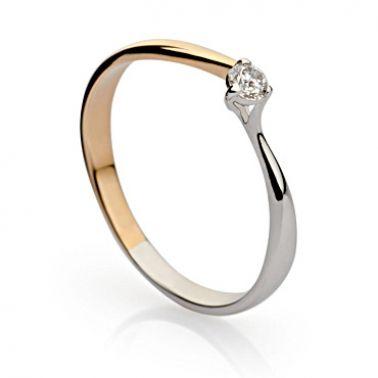 Кольцо солитер с бриллиантом 0,1 карат из комбинированного золота
