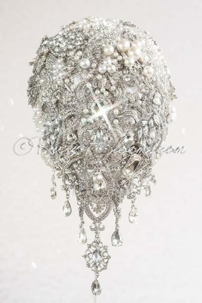 Silver White Brooch Bouquet Crystal Bling Wedding by Ruby Blooms