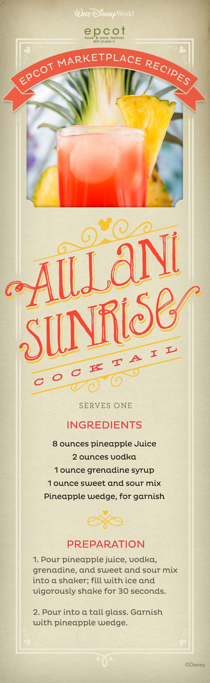 Bring Epcot International Food and Wine Festival home with this Aulani Sunrise Cocktail Recipe