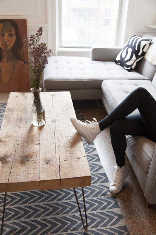 Reclaimed wood + pin legs. My living room sans glass.