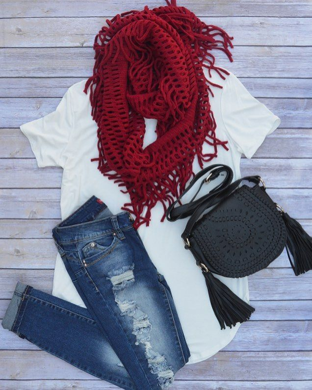"""We fall outfits!! """"Ever So Soft"""" top """"Loved N' Torn"""" jeans """"Warm Embrace"""" scarf & """"Wild Side"""" purse #shop #blackberryboutique #warm #cozy #scarfweather #fall #fallishere #november #autumn #loveit #musthave #style #cute #adorable #scarfstyle #accessories"""