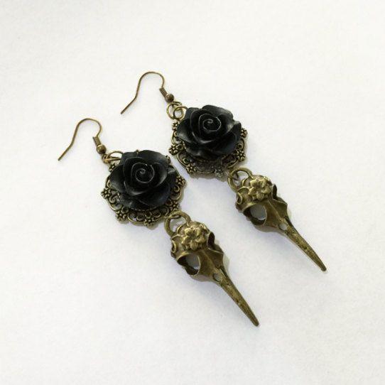 Black Rose Skull Earrings by TeacupRose on Etsy