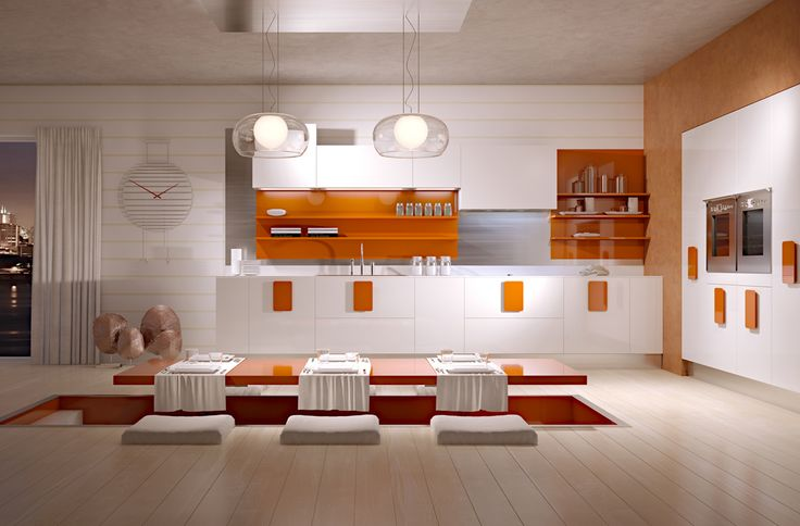 Model Solobianco kitchen Glossy white and matt white polymeric kitchen. MDF handles available in 6 glossy colors, scic and ral colors. Available also with horizontal groove and vertical spacers. 22 mm door thickness. --- Κουζίνα Solobianco από πολυμερές υλικό σε, λευκό  ματ, & γυαλιστερό χρώμα. Πόμολα  MDF  Βαμμένα λάκα γυαλιστερή σε 6 χρώματα μοντέλου + 250 χρώματα λάκας Scic + RAL χρώματα Πόρτα πάχους 22mm.
