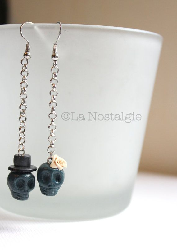 Teal skull earrings  burgundy skull jewelry  by LaNostalgieFrance, €12.60