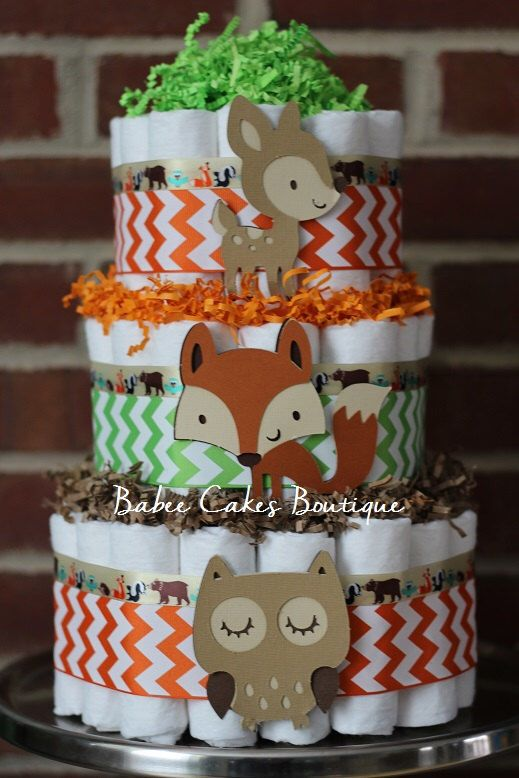 3 Tier Woodland Animal Diaper Cake, Boys Woodland Baby Shower, Fox, Owl, Deer, Centerpiece, Decor, Green Brown and Orange, Gender Neutral by BabeeCakesBoutique on Etsy https://www.etsy.com/listing/218477263/3-tier-woodland-animal-diaper-cake-boys
