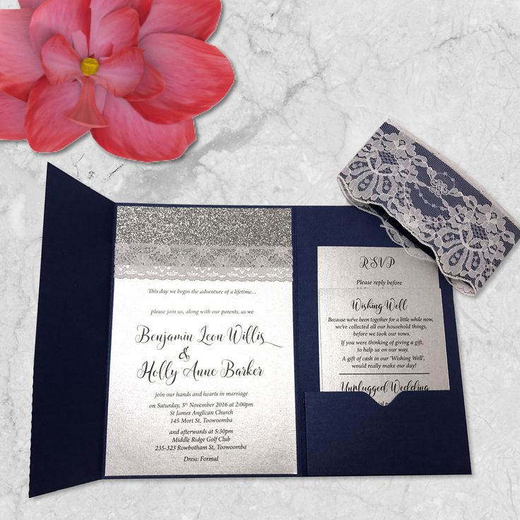 lace and glitter navy pocket wedding