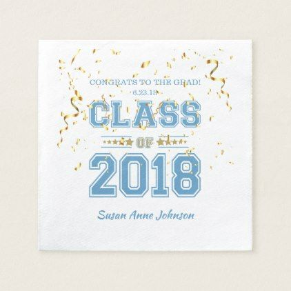 Class of 2018 Grad Party  Light Blue & Gold Napkin - graduation gifts giftideas idea party celebration