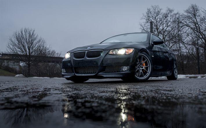 Download wallpapers BMW M3, E92, rain, 4k, darkness, black M3, german cars, BMW
