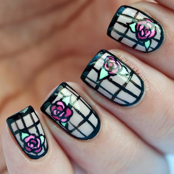 Art Deco Nails – Stained Glass Roses