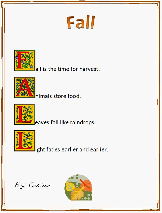 Fall Acrostic Poem Example