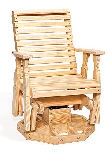 Amish Pine Wood Roll Back Swivel Outdoor Glider Chair Relax in comfort outdoors in this Amish made glider.