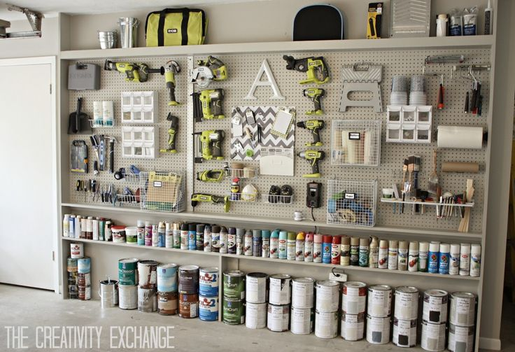 Now this is efficient use of every square inch of space. DIY Garage Pegboard Storage Wall Using Only 5.5 Inches in Depth. {The Creativity Exchange}