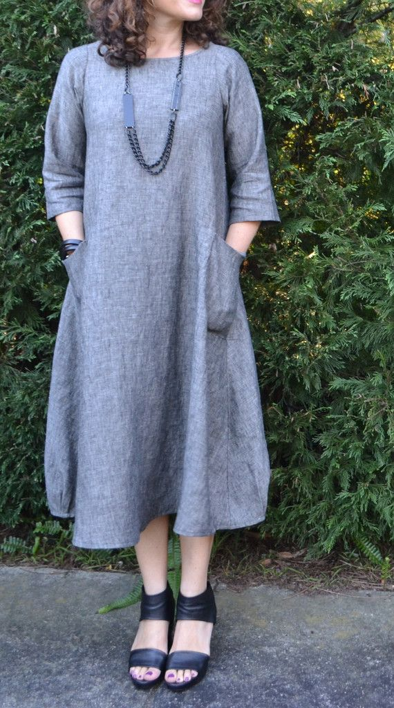Lily Linen Dress Pattern - I love the simplicity of this dress with the detail on the hem line