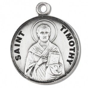 """Saint Timothy 7/8"""" Sterling Silver Medal"""