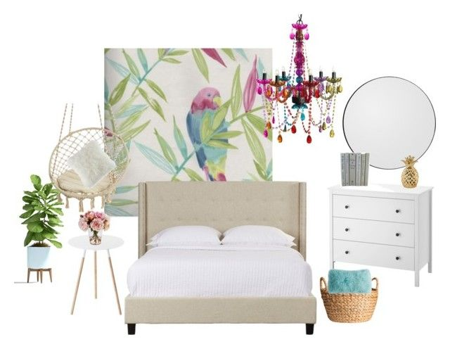 Tropical bedroom by aleksandra-hamrol on Polyvore featuring interior, interiors, interior design, dom, home decor, interior decorating, Yamazaki, 3C4G, AYTM and BCBGeneration