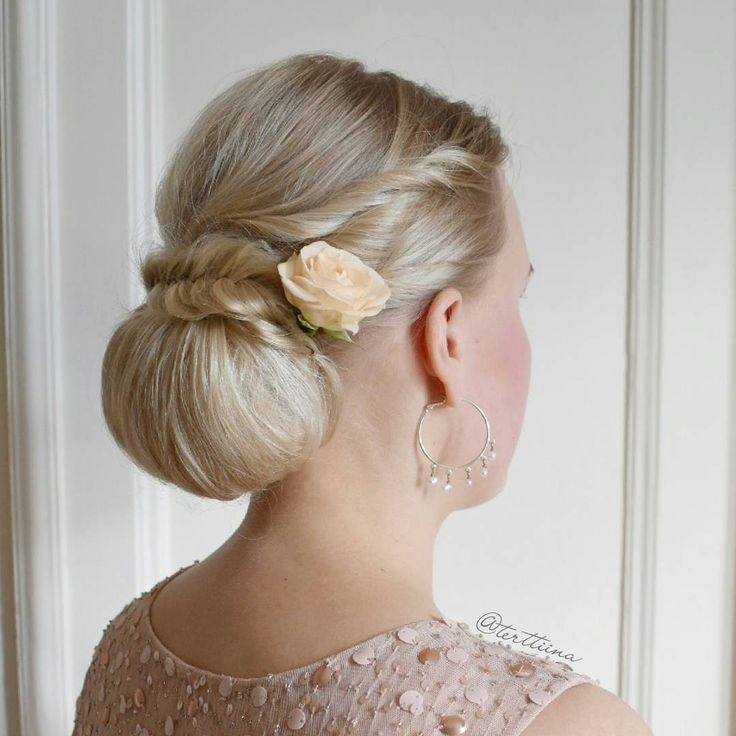 """Hair by @terttiina Instagramissa: """"Here is another beautiful bridesmaid who's hair I made for last weekend's wedding! #fishtailbraid #chignon"""