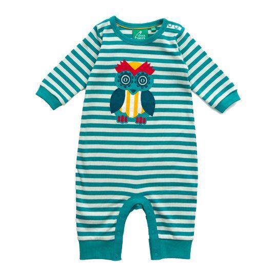 Little Green Radicals - Babygrow com Padrão Riscas e Mocho – Azul Água